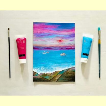 картина, краски и кисточки